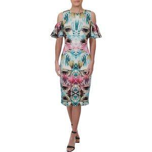 JAX Black Label Floral Cold Shoulder Midi Dress